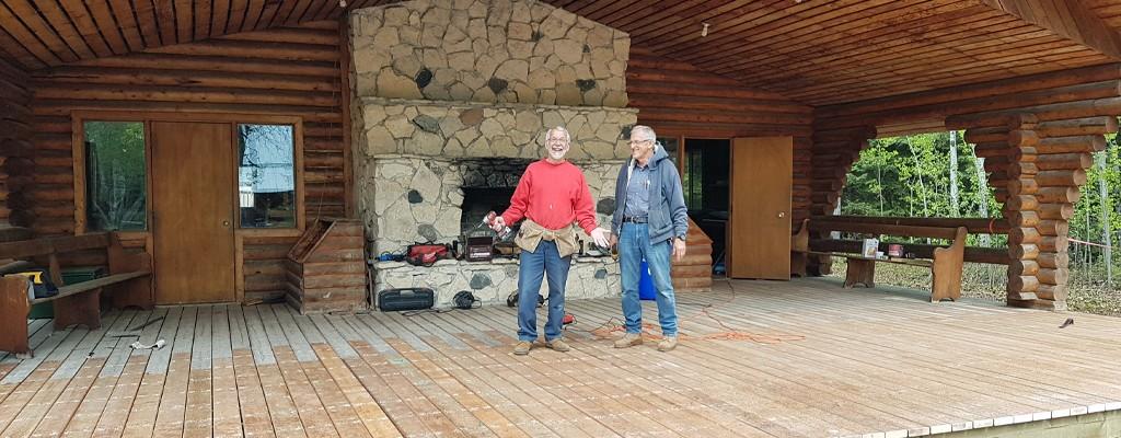 volunteers build a new chapel deck